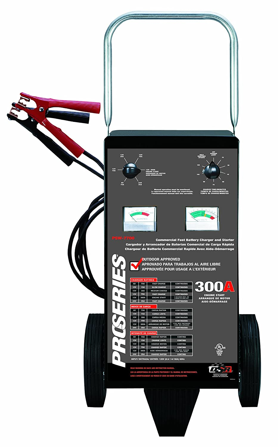 Amazon.com: Schumacher PSW-7700 DSR ProSeries 300/70/35/30/15 Amp 6/12/24  Volt Manual Wheel Battery Charger/Starter: Automotive