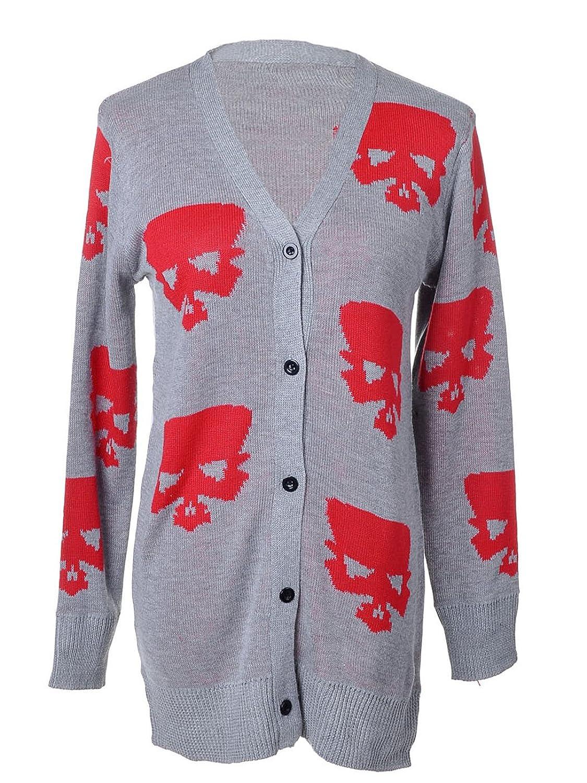 Anna-Kaci S/M Fit Grey and Red Large Skull Pattern Boyfriend Cardigan Sweater