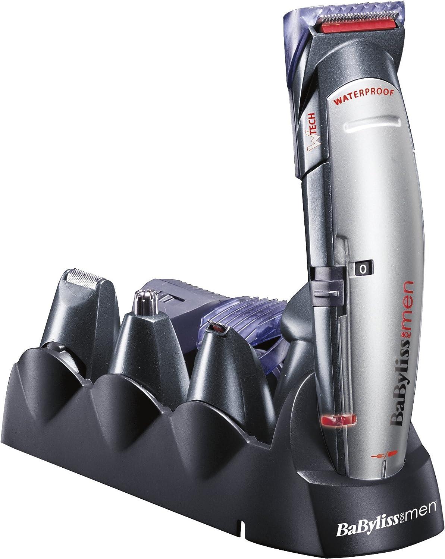 BaByliss X10 - Cortapelos para cara, cabello y cuerpo, con cuchillas profesionales W-tech y 10 accesorios, negro y gris