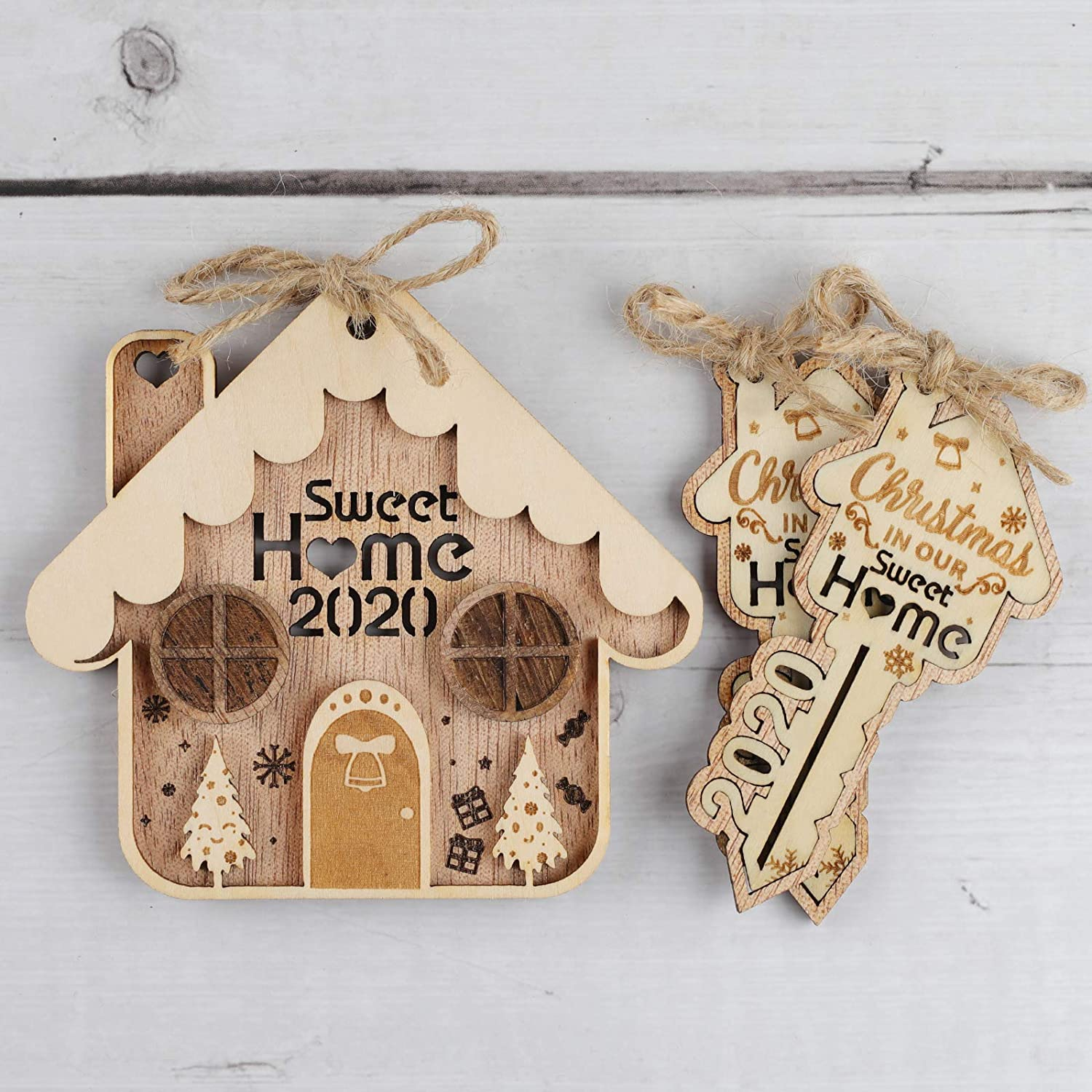 Creawoo Pack of 3 Christmas in Our Sweet Home Ornaments, Perfect Xmas Key Home Ornaments 2020 Gift for Homeowner Housewarming Party, Double Layer Wooden Decoration for Tree
