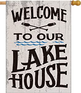 pingpi Welcome to Our Lake House Large House Flag Vertical Double Sided 28 x 40 Inch Summer Burlap Yard Outdoor Decor
