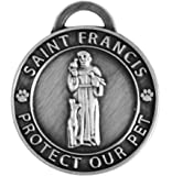 Luxepets Pet Collar Charm, Saint Francis of Assisi, Large, Antique Silver