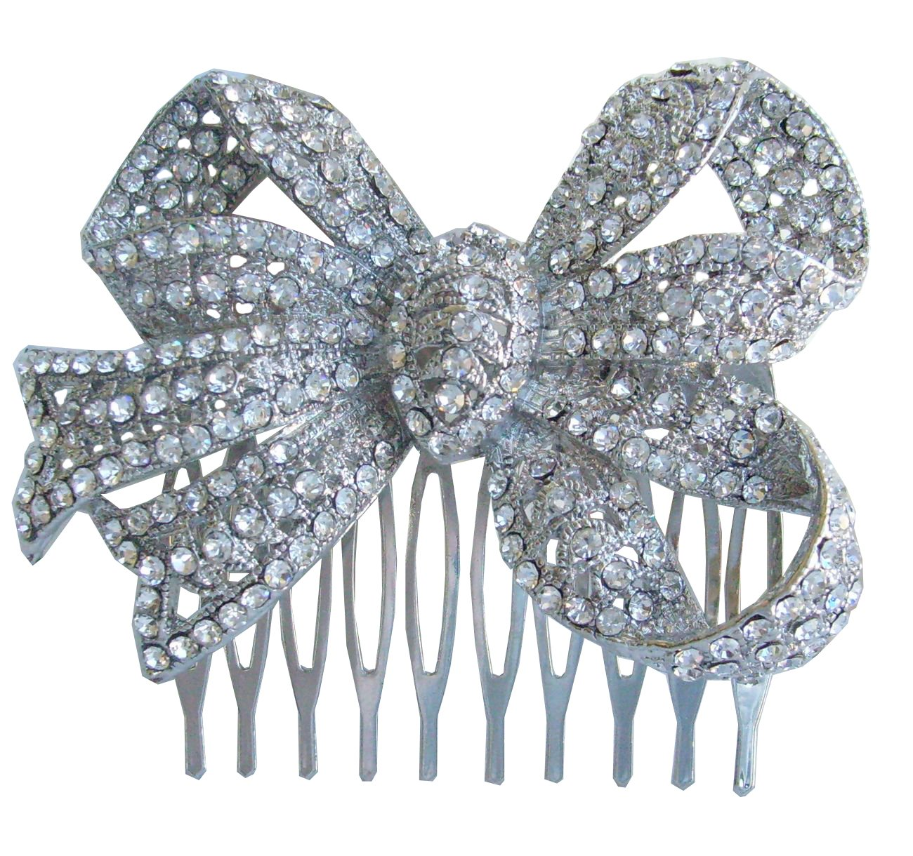 Sindary Wedding Headpiece Silver-tone Clear Rhinestone Crystal Bowknot Hair Comb