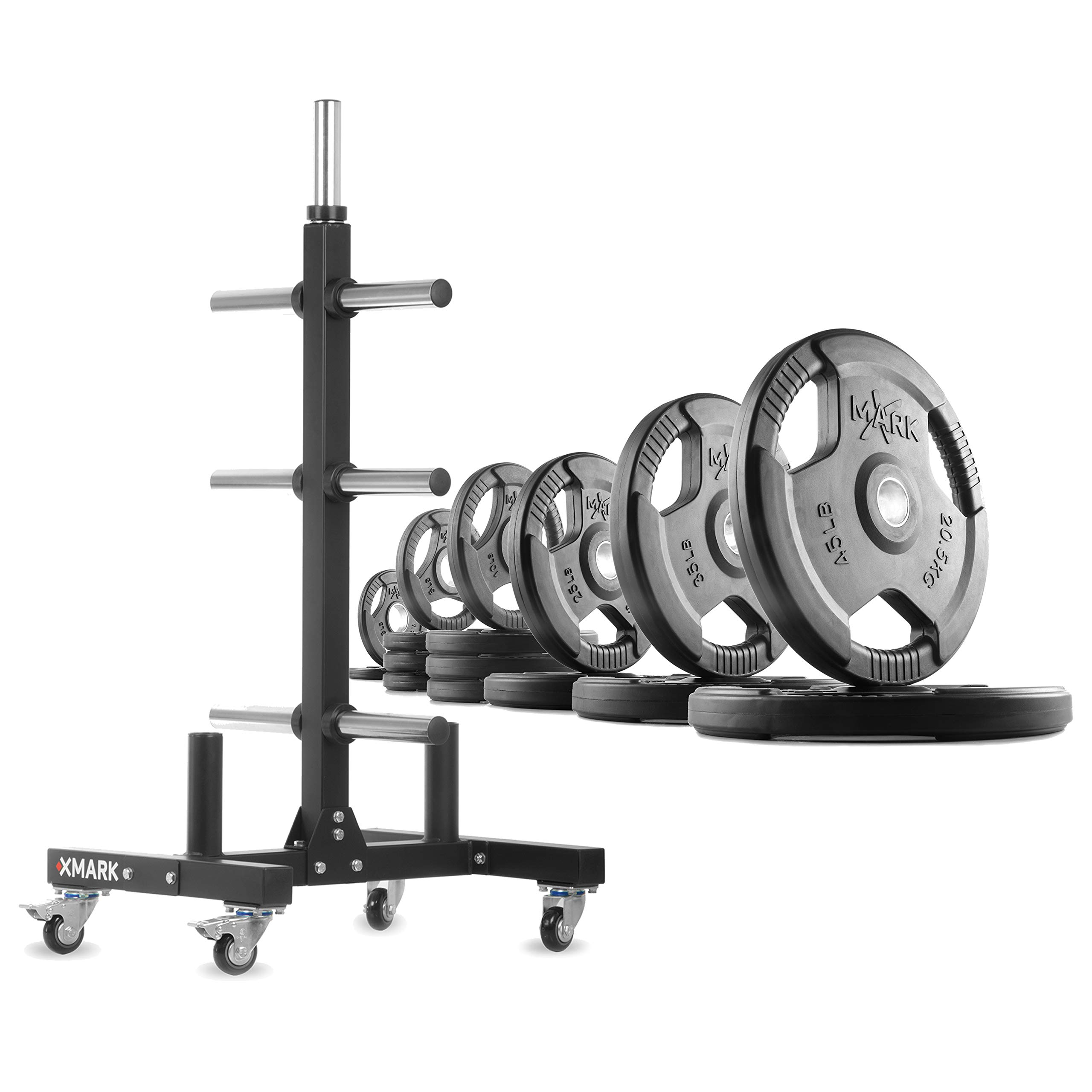 XMark XM-9055 Commerical Olympic Weight Tree Plus a 275 lb Set of TRI-Grip Olympic Plates by XMark