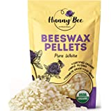 HUNNYBEE Organic White Beeswax Pellets (1lb) | Organic Beeswax Pastilles | Cosmetic Grade | Triple Filtered Beeswax | Easy Me