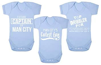 outlet store 74ad9 f61dd Set of 3 Manchester City Football Baby Vests Babygrow Romper ...