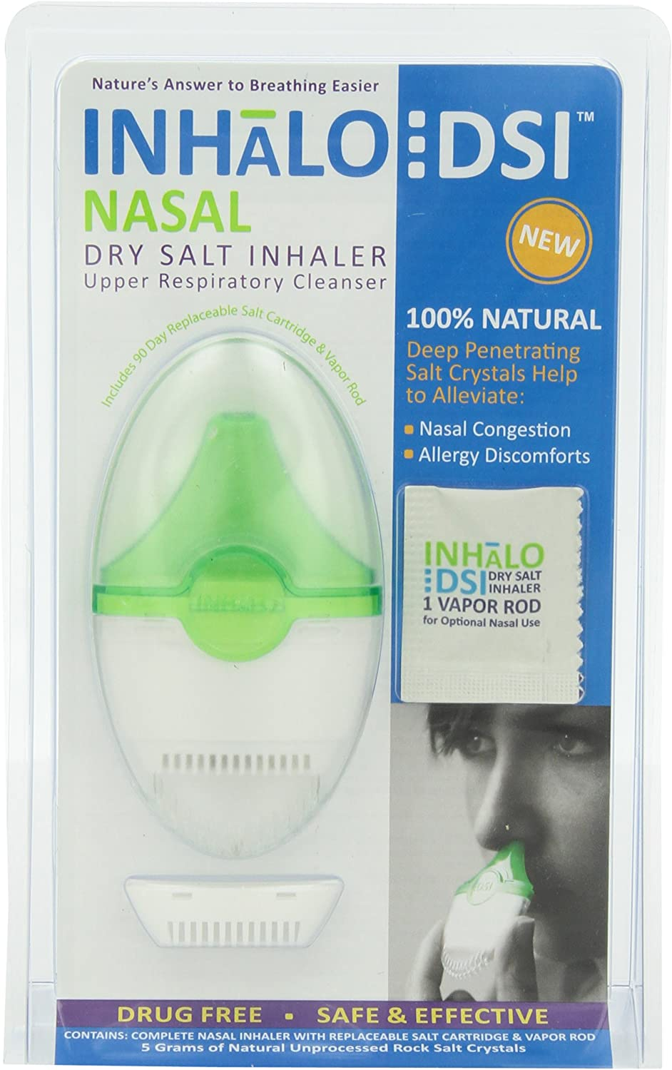 SinuCleanse INHaLo Nasal Dry Salt Inhaler with Cooling Vapors - Contains 100% All-Natural Deep Penetrating Salt Crystals to Help You Breathe Easier-1 Portable, Ready-To-Use Upper Respiratory Inhaler