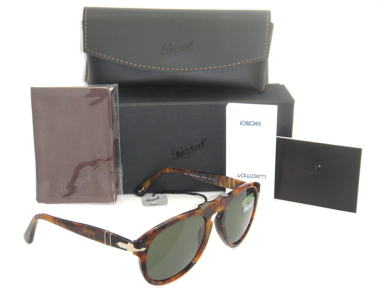 96f2cedb95a New Authentic Persol Caffe Havana Frame   Green Polarized Lenses PO 0649 108  58 52mm  Amazon.co.uk  Clothing