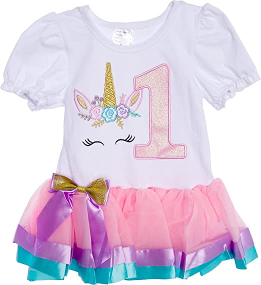 Silver Lilly Baby Girls Birthday Outfit Unicorn Rainbow Ribbon Tutu Dress Toddlers Light Pink Multi