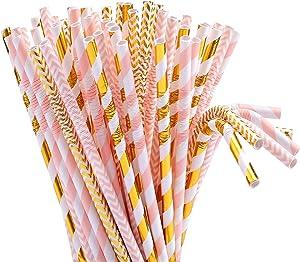 Tomnk 100pcs 8.85 Inch Flexible Bendy Pink/Gold Paper Straws Biodegradable Drinking Straws- Premium Eco-Friendly & Dye-Free