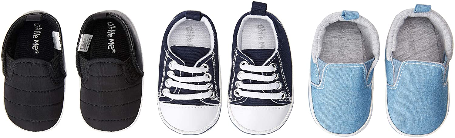 Baby Shoe Size 2 Everyday Wear- Assorted Pack in Brown 3 Pack Baby Boy Soft Sole Pre Walker Shoes- Baby Boy High Top Boots for Casual Grey /& Denim Blue- for Baby /& Infant 6-9 Months