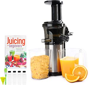 Cold Press Masticating Juicer With 16 oz Plastic Juice Bottles With Black Caps And Juicing Recipe Book, Includes Funnel And Brush