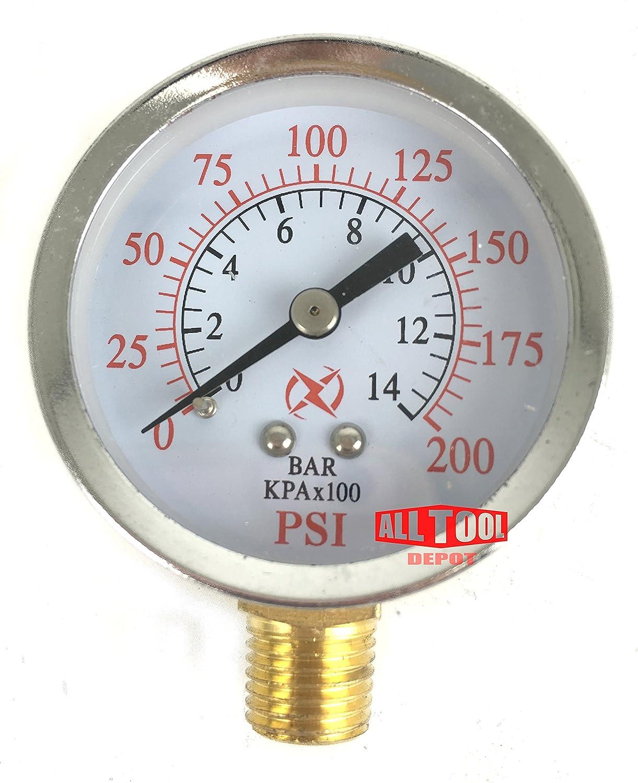 0 to 200 PSI Best in USA 2 Air Pressure Gauge Side Mount 1//4 NPT 2 Dial