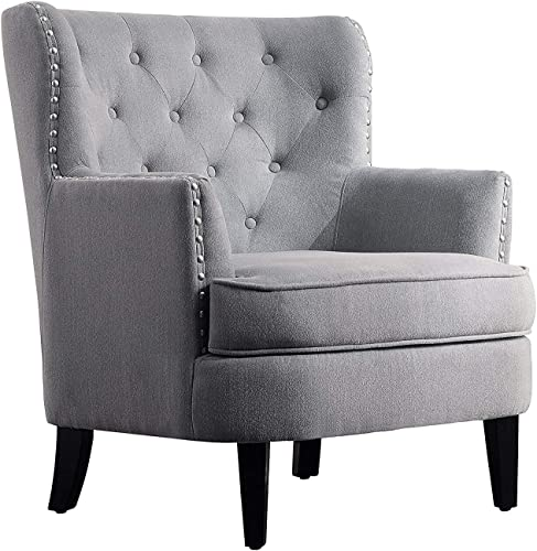 Art Leon Mid Century Modern Retro Blue Velvet Upholstered Oak Woven Arm Accent Chair with Oak Wood Legs Living Room Chair