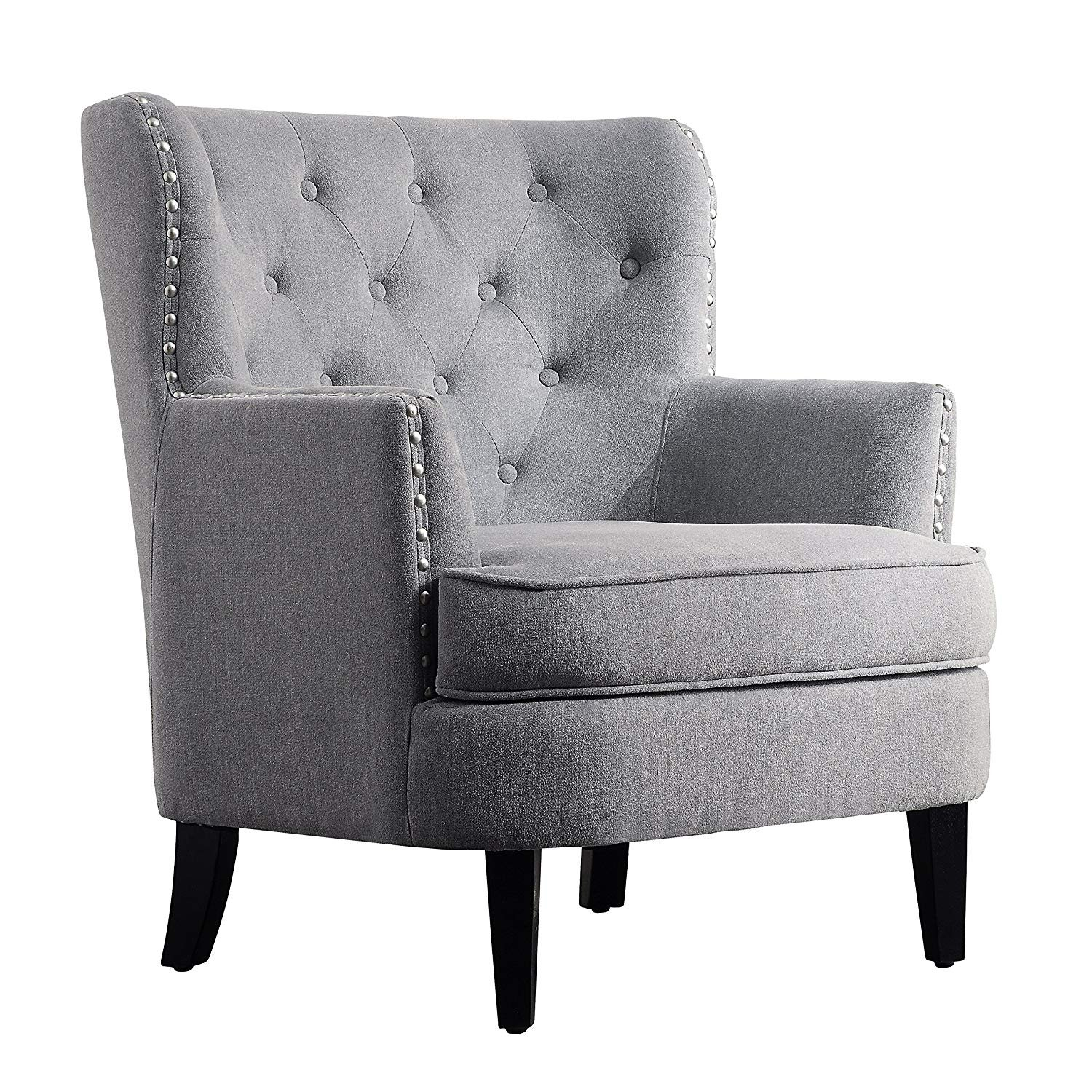 Amazon com rosevera home gustavo collection fabric nailhead club chair contemporary accent chairs grey kitchen dining