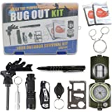 Emergency Survival Kit - Exqline 12 in 1 Car EDC Hiking Camping Hunting Tactical Survival Gear - Military Compass Emergency Blanket Survival Knife Fire Starter Whistle Flashlight Tactical Pen etc