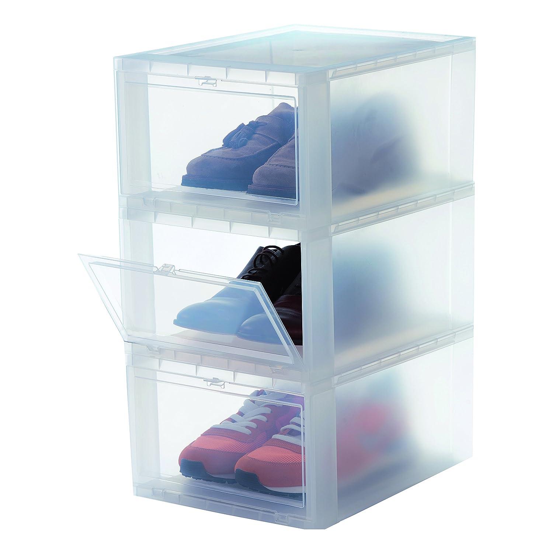Juego de 3 cajas apilables de plástico. Se abren con puertecilla. Opción de tamaños y colores.