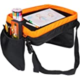 Children's Snack Tray & Play Travel Tray by KIPTOP,Play & Learn Tray for Car Seat, Train or Airplane! Comfortable and Firm Lap Tray for Kids in Car (Black)