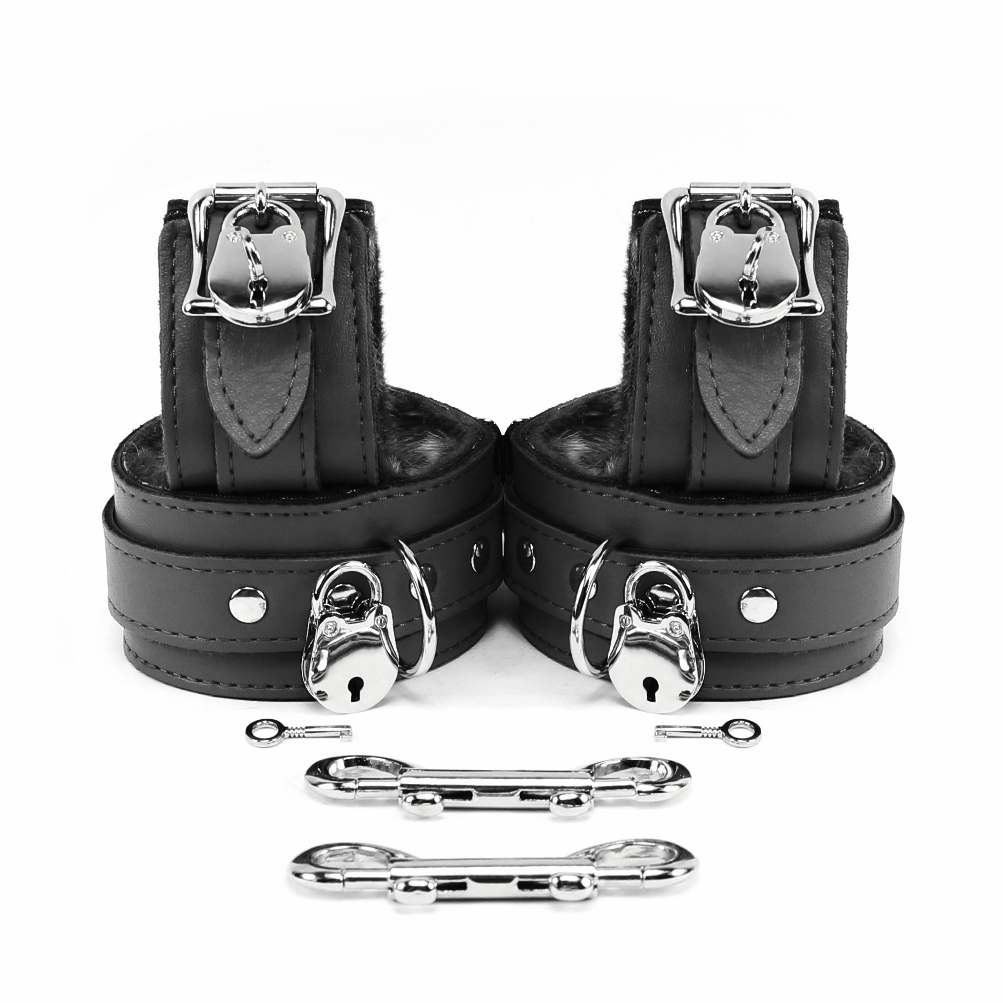 VP Leather Berlin Lockable Wrist and Ankle Cuffs Combo Handmade Lambskin Leather Handcuffs and Leg Cuffs (Black)
