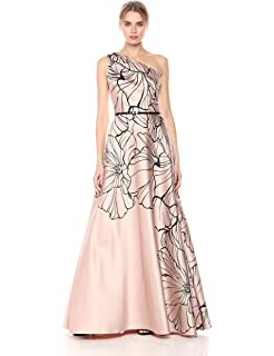 81ce7467aef1d6 Carmen Marc Valvo Infusion Women's One Shoulder Printed Mikado Gown W/Beads