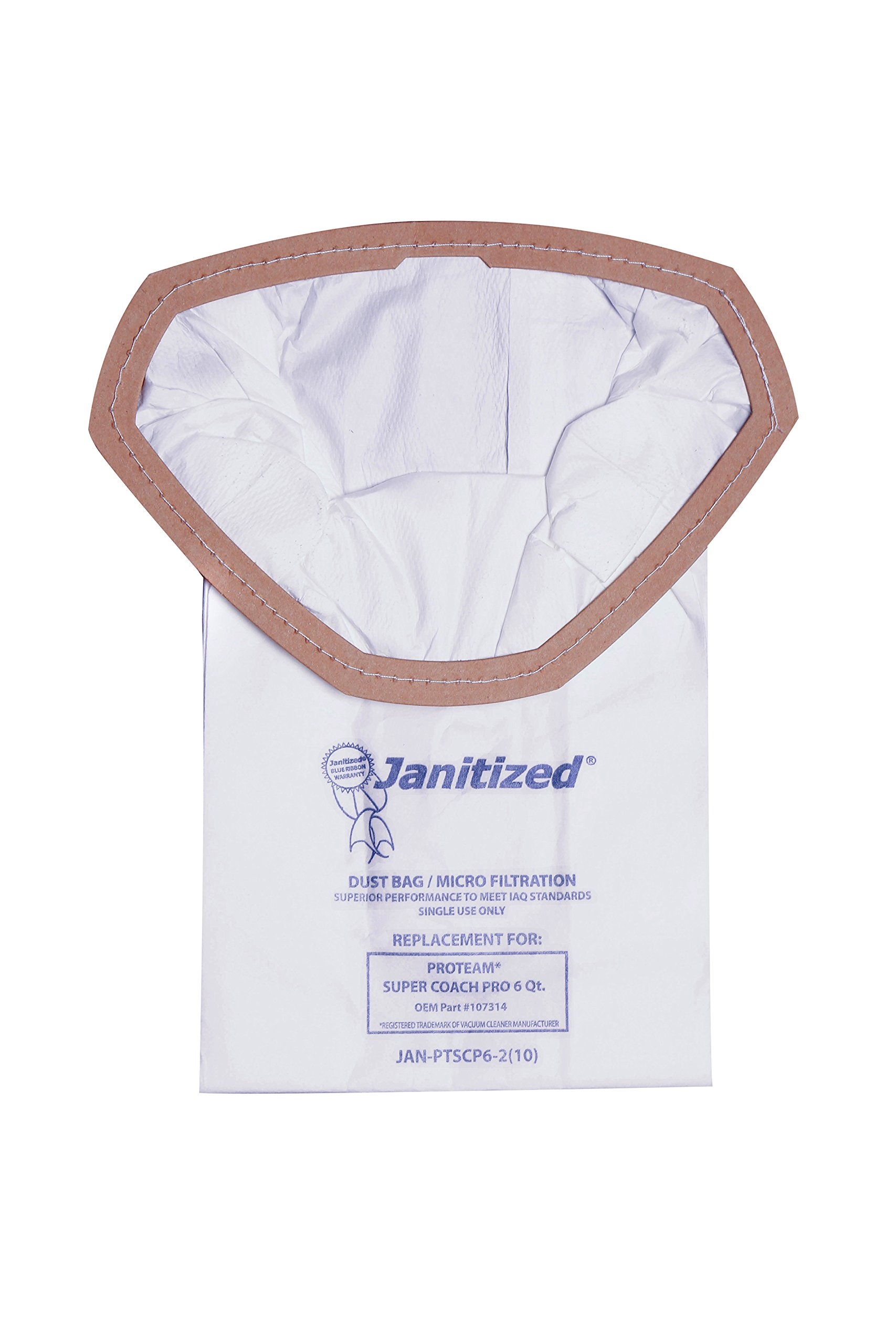 Janitized JAN-PTSCP6-2(10) Premium Replacement Commercial Vacuum Bag for ProTeam Super Coach Pro 6, GoFree Pro & ProVac FS 6 Qt. Vacuums(10 - 10 packs) by Janitized