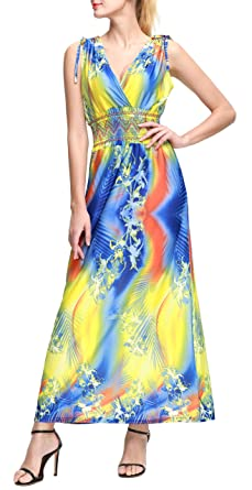 2fb0baa2bdb Wantdo Women s Bohemian Maxi Dress Floral Print V Neck Casual Long Dresses  Plus Size Yellow L