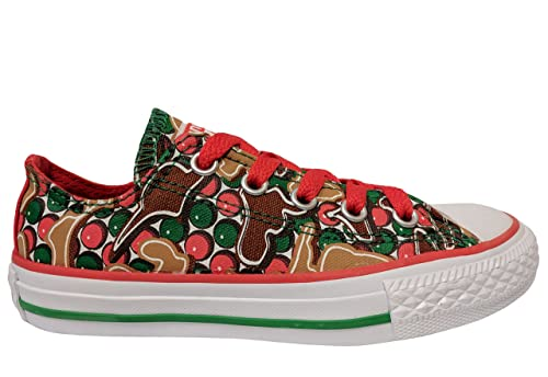 Christmas Sneakers.Converse Chuck Taylor All Star Lo Top Signal Red Green Christmas Shoes