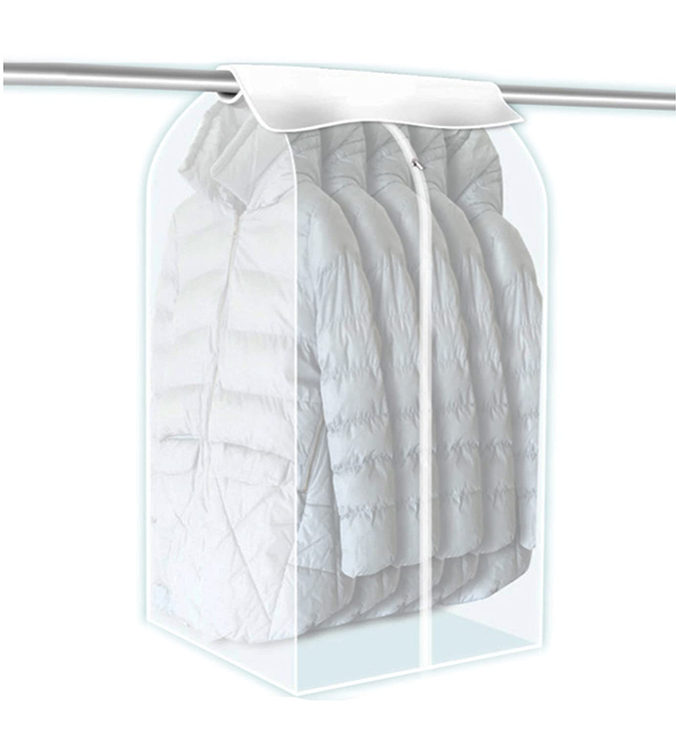 Yunko Garment Cover Bag Hanging Wardrobe Garment Closet Suit Garment Cover Bag Organize Storage Bag Clothes Dust Cover (Clear)
