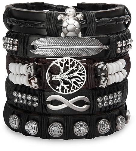8f966c3a0075 Set de Pulseras de Cuero para Hombres Mujeres - Trenzado Hippie Wrist Wraps  - Nativo Hill Tribe puños