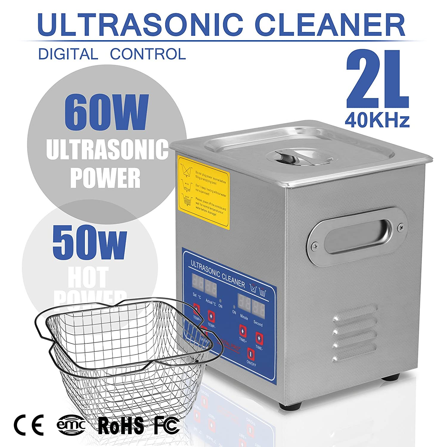 HappyBuy Ultrasonic Cleaner 2L Large Commercial Ultrasonic Cleaner Stainless Steel Ultrasonic Cleaner With Heater And Digital Control Ultrasonic Cleaner Solution Heated With Jewelry Happybuy AY-AI-AU-00041
