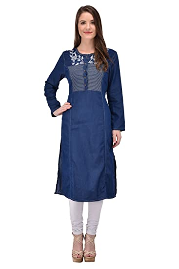 f88832bf6a1 Style Souk Women s Denim A-Line Kurti (Wkrt01M Blue Medium)