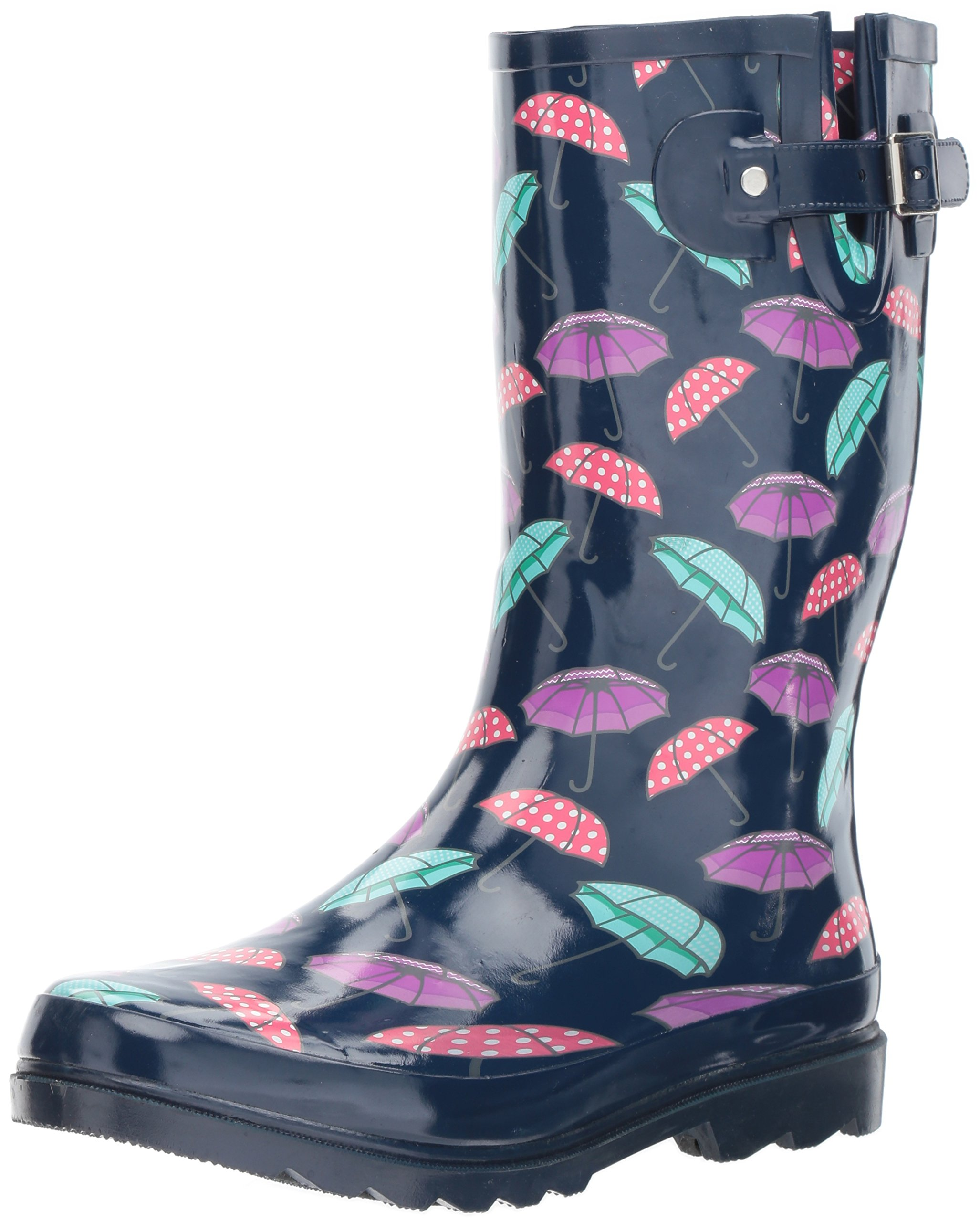 Western Chief Women's Waterproof Printed Tall Rain Boot, Pretty Parasols, 11 M US