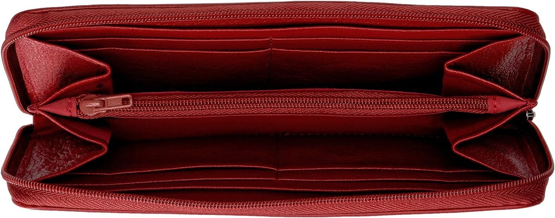 Dark Red Buxton Roma Zip-Around Organizer Clutch