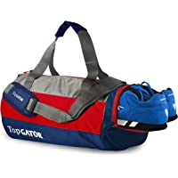 TopGATOR Polyester 34 L Gym Bag Sports Duffel with Shoe Compartment (Red/Navy Blue)