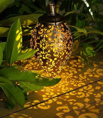 Hanging Solar Lights Outdoor – Garden Solar Lanterns Outdoor Hanging Lights – Waterproof Metal Solar Lanterns Lights for Patio, pathway, Courtyard,Garden