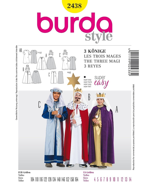 burda 2438 - Patrón para costura de disfraces de los 3 Reyes Magos ...