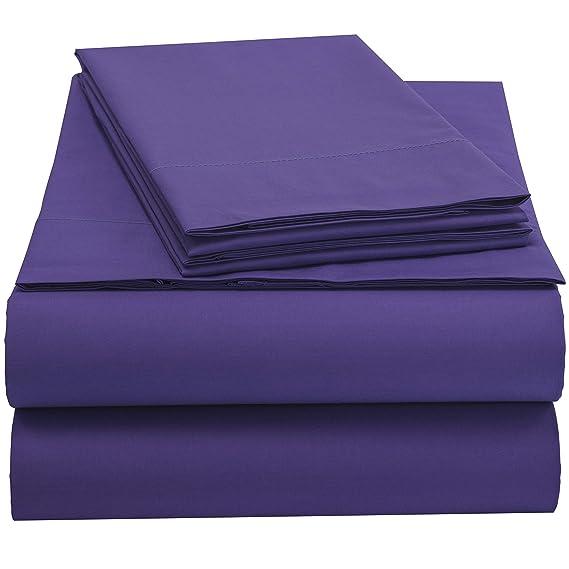 EnvioHome GOTS Certified Organic Cotton Sheet Set - 4 Pc - Purple, Queen