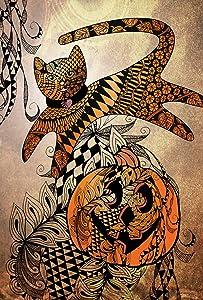 Toland Home Garden Jumping Cat Tangle 28 x 40 Inch Decorative Halloween Pumpkin House Flag