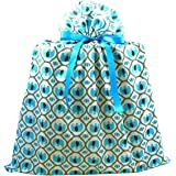 Elephants Reusable Fabric Gift Bag for Baby Shower, Child's Birthday, or Any Occasion (Jumbo 27 Inches Wide by 33 Inches High, Turquoise Blue)