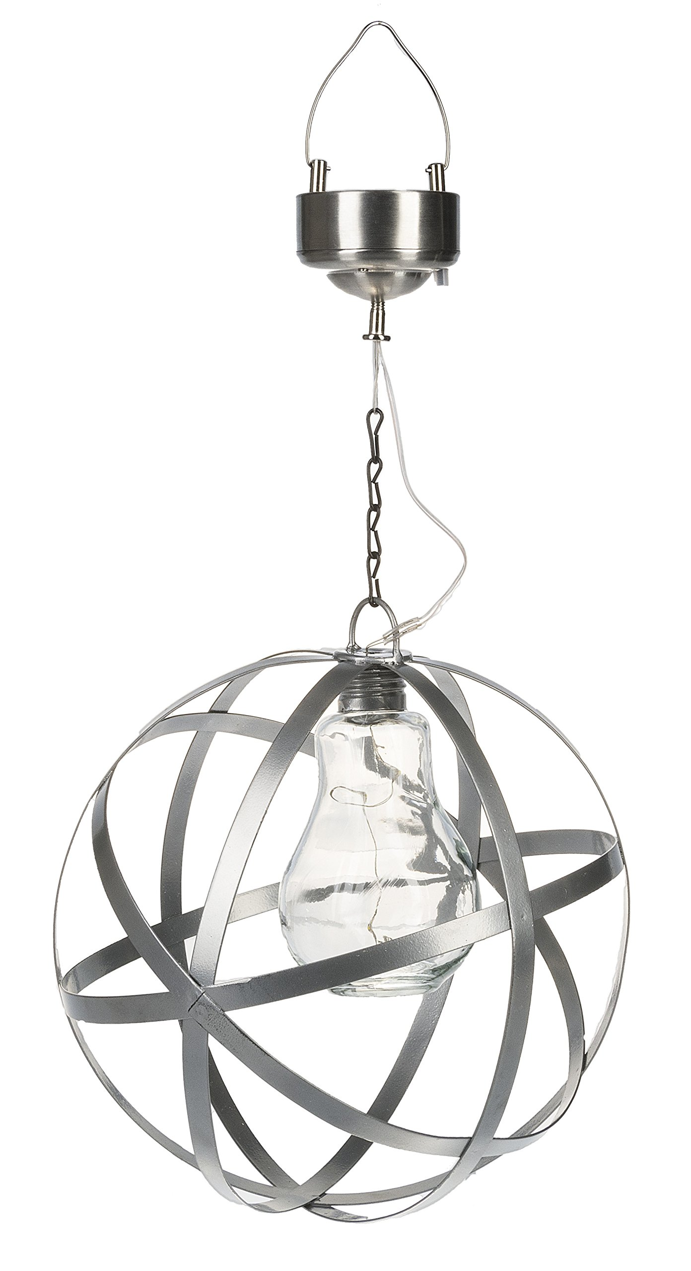 Silver Tone Orb Cage With Solar Panel 8.25 x 14.75 Iron Outdoor Hanging Light by Ganz