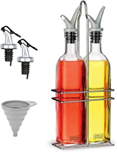 DWËLLZA KITCHEN Oil and Vinegar Dispenser Set - Olive Oil Dispenser Bottles for Kitchen - with Two Extra Drip Free Spouts and Funnel - 17 Oz 500 ML Glass Bottle Containers with Stainless Steel Rack