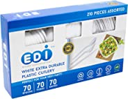 EDI White Disposable Plastic Cutlery Set (210 Count)