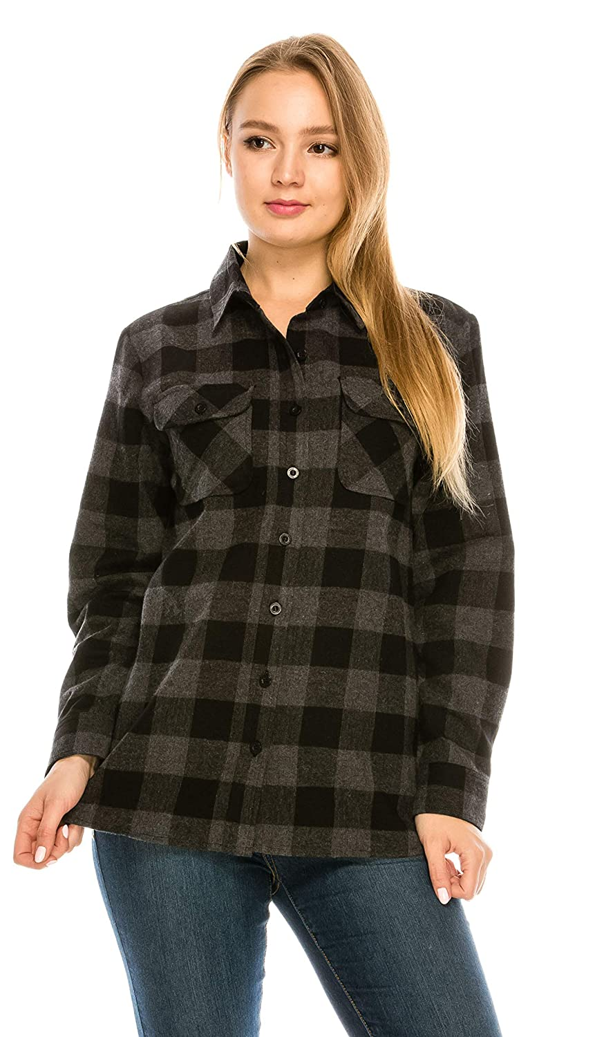 Black Grey (A3b) YAGO Womens Classic Outdoor Button Up Long Sleeve Plaid Flannel Shirt