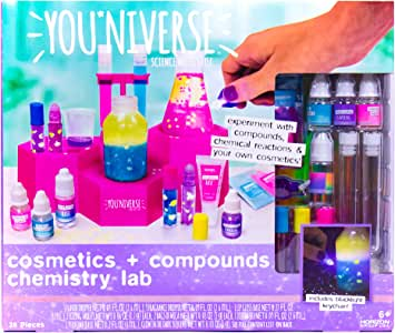 You*Niverse Cosmetics Compounds Chemistry Lab by Horizon Group Usa, DIY Lip Balm Perfume Making Stem Science Kit Assorted/Pink/Blue/Purple/Yellow