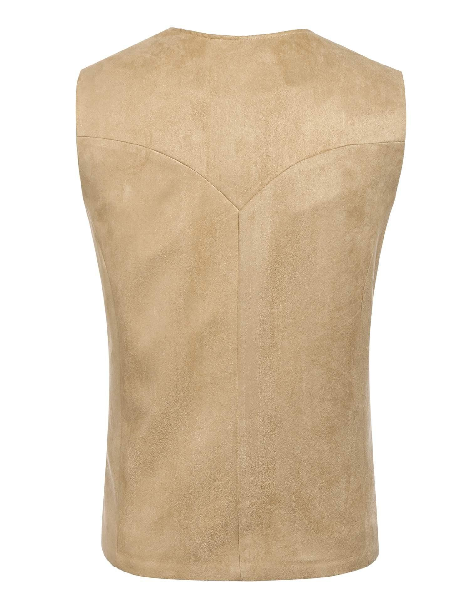 Edited Mens Faux Suede Vest Dress Suit Vest Formal Waistcoat for Wedding by Edited (Image #4)