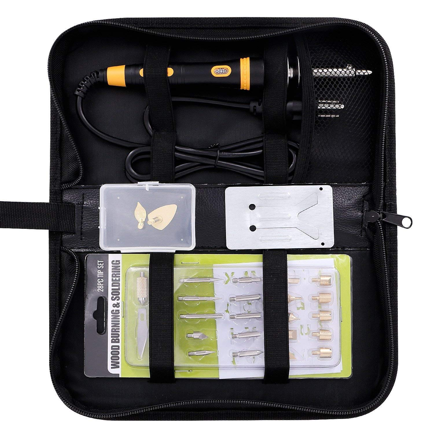 Wood Burning Kit with Various Wood Embossing//Carving//Soldering Tips +Stencil Stand Full Set Wood Burning Kit Carrying Case