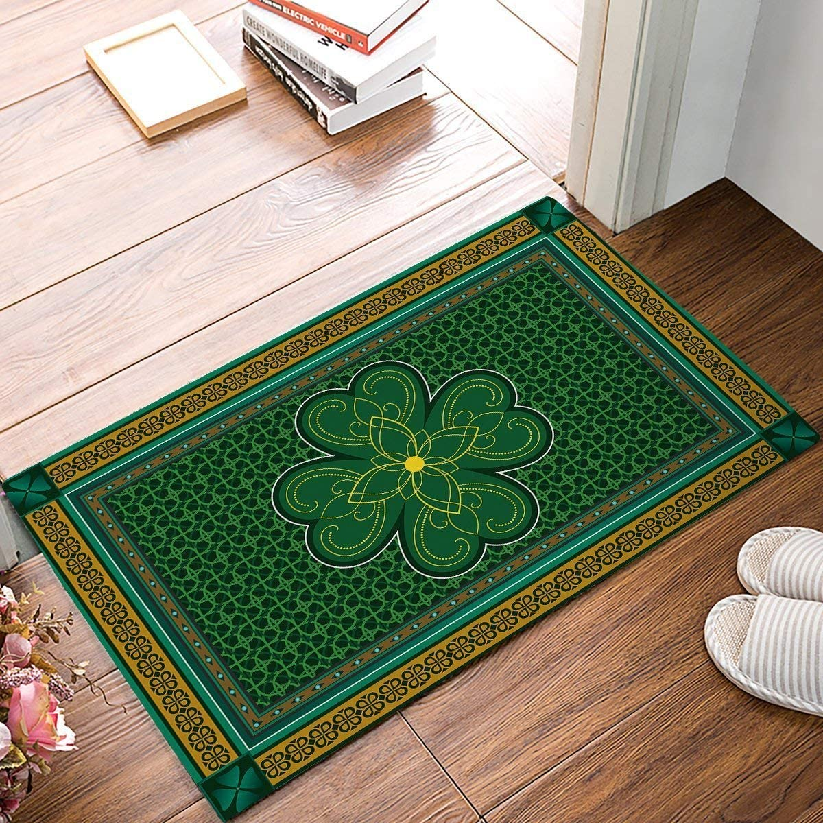 Picpeak Doormats Non-Slip Rugs Floor Carpet Keeps Your Floors Clean – Traditional Shamrock Irish Decorations Design Non-Slip Mat 18x30inch