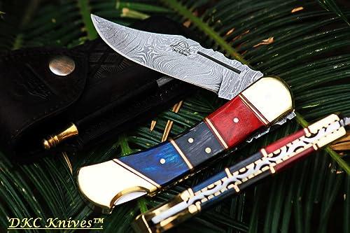 DKC Knives Sale 5 6 18 DKC-164 Cantina 9 Long, 3.75 Blade 5.5 Folded 8oz Damascus Folding Pocket Hunting Knife TM