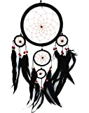 Beautiful Handmade Dream Catcher Hanging Ornament (with a Betterdecor Gift Bag)--- Multi Colors with Long Feathers (Black)