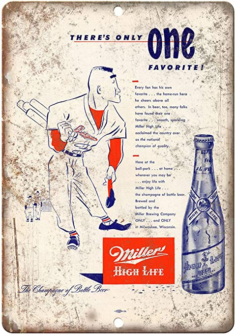 The BEST Milwaukee Beer Miller High Life Tin Metal Sign Brewing Company